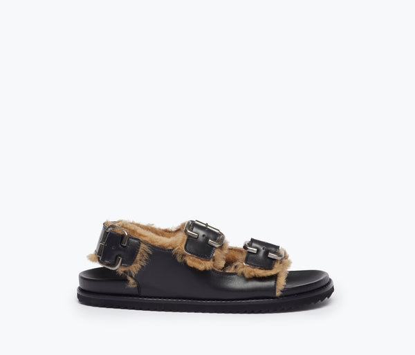 PIPER BUCKLE FOOTBED SANDAL W SHEARLING