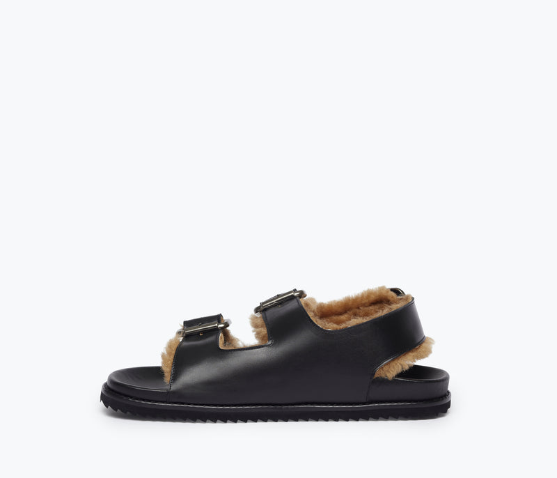 PIPER BUCKLE FOOTBED SANDAL W SHEARLING, [product-type] - FREDA SALVADOR Power Shoes for Power Women