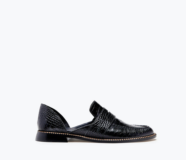 TASH - Black Embossed Croc, [product-type] - FREDA SALVADOR Power Shoes for Power Women