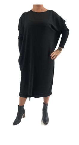 Black Tie Dress with Rib Sleeve
