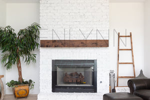 White Brick Fireplace Blank Wall Mockup JPG