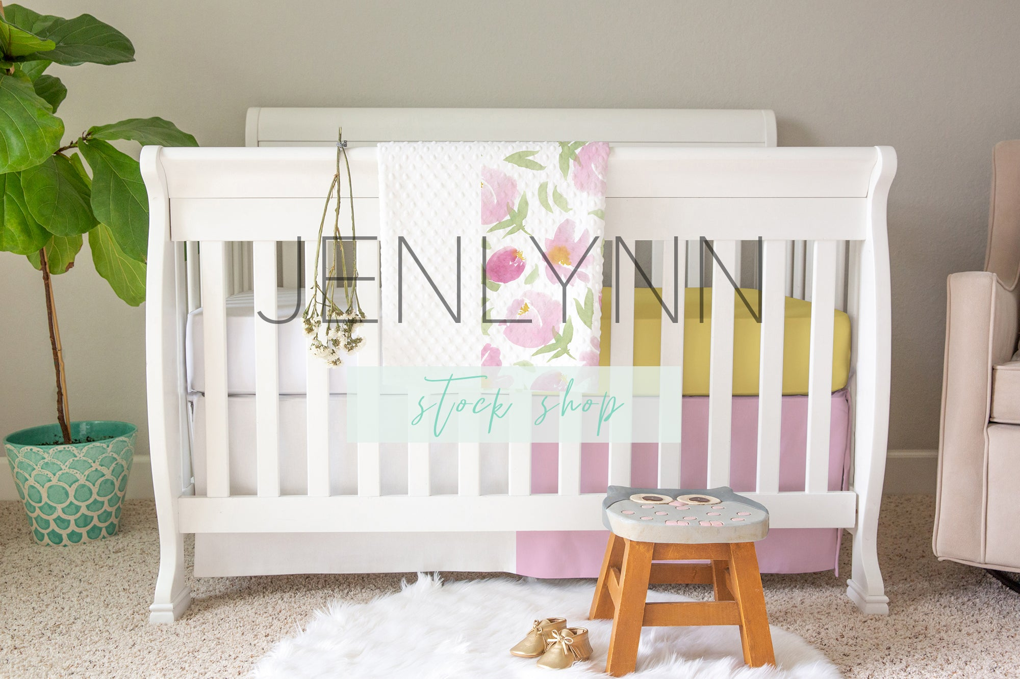 Crib Set Mockup #9 | Crib Sheet, Dimple Dot Blanket, Crib Skirt