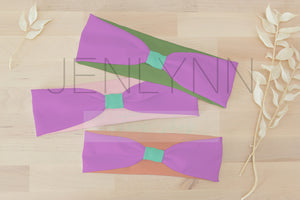 Set of 3 Knotted Turban Headbands Mockup #16