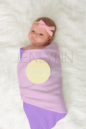 Jersey Baby Blanket Mockup with Wooden Stats sign #3 PSD