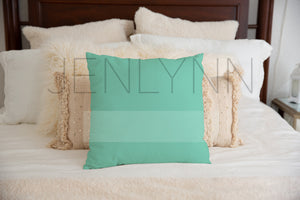 Square Pillow on a bed Mockup #LH10