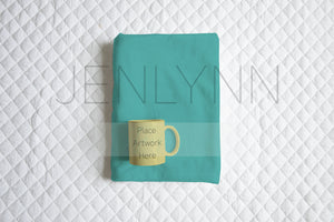 Folded Minky Blanket and Mug set Mockup #1
