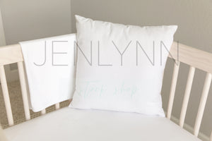 White Pillow Jersey Blanket + Sheets Mockup #NN7