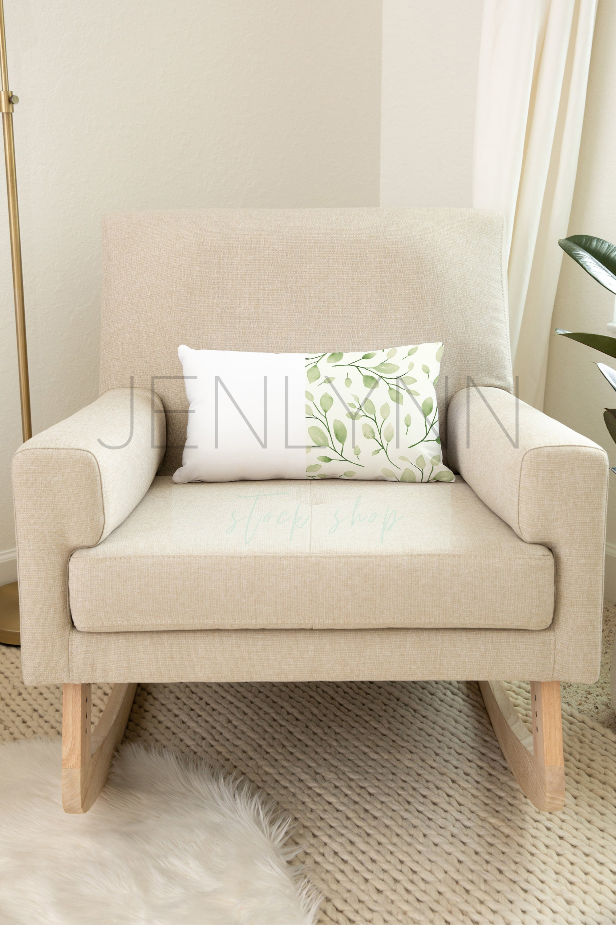Nursery pillow on Rocker Mockup #NN29