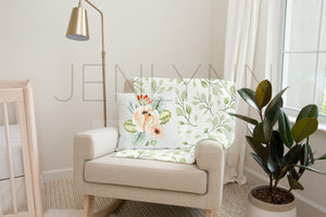 Minky Blanket and pillow Mockup on Nursery Rocker #NN33