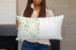 Black Model Holding 12x18 Pillow Mockup #4 PSD