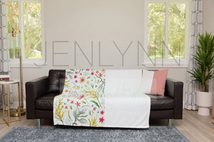 Minky Blanket and Pillow on Couch Mockup #TH01