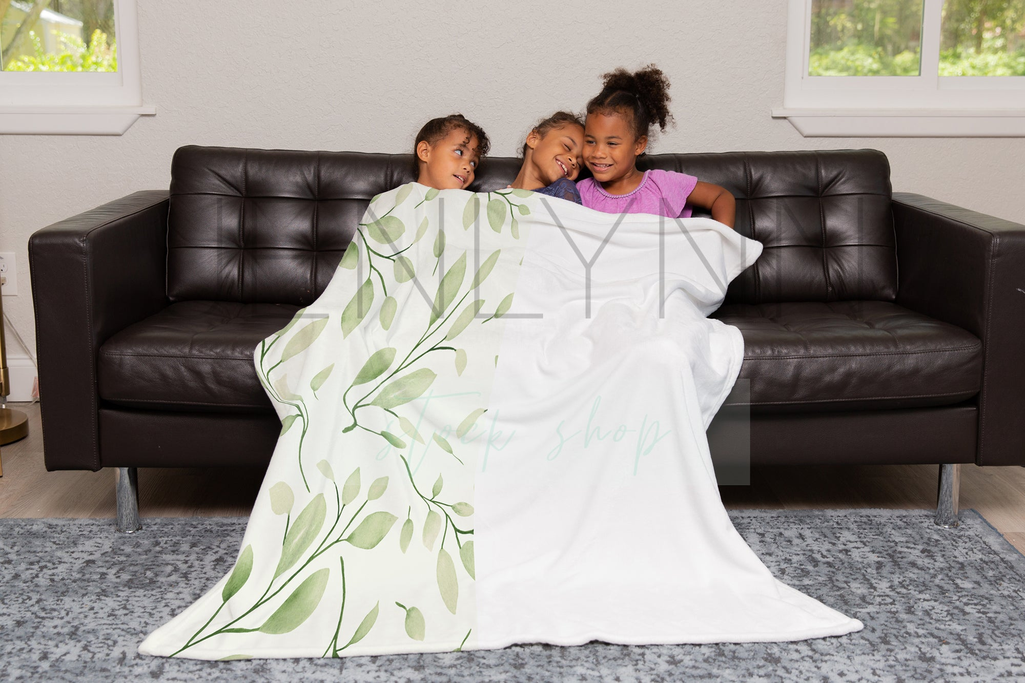 50x60 Minky Blanket + Black Models on Couch Mockup #TH05