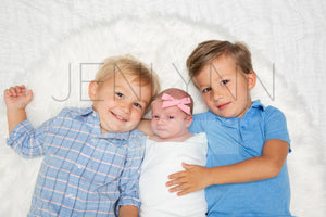 Jersey Baby Girl with Brothers Blanket Mockup #10 PSD