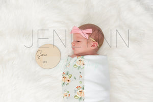 Jersey Baby Blanket Mockup with Wooden Stats sign #4 PSD