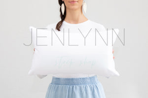 Woman Holding Pillow Mockup #8 PSD