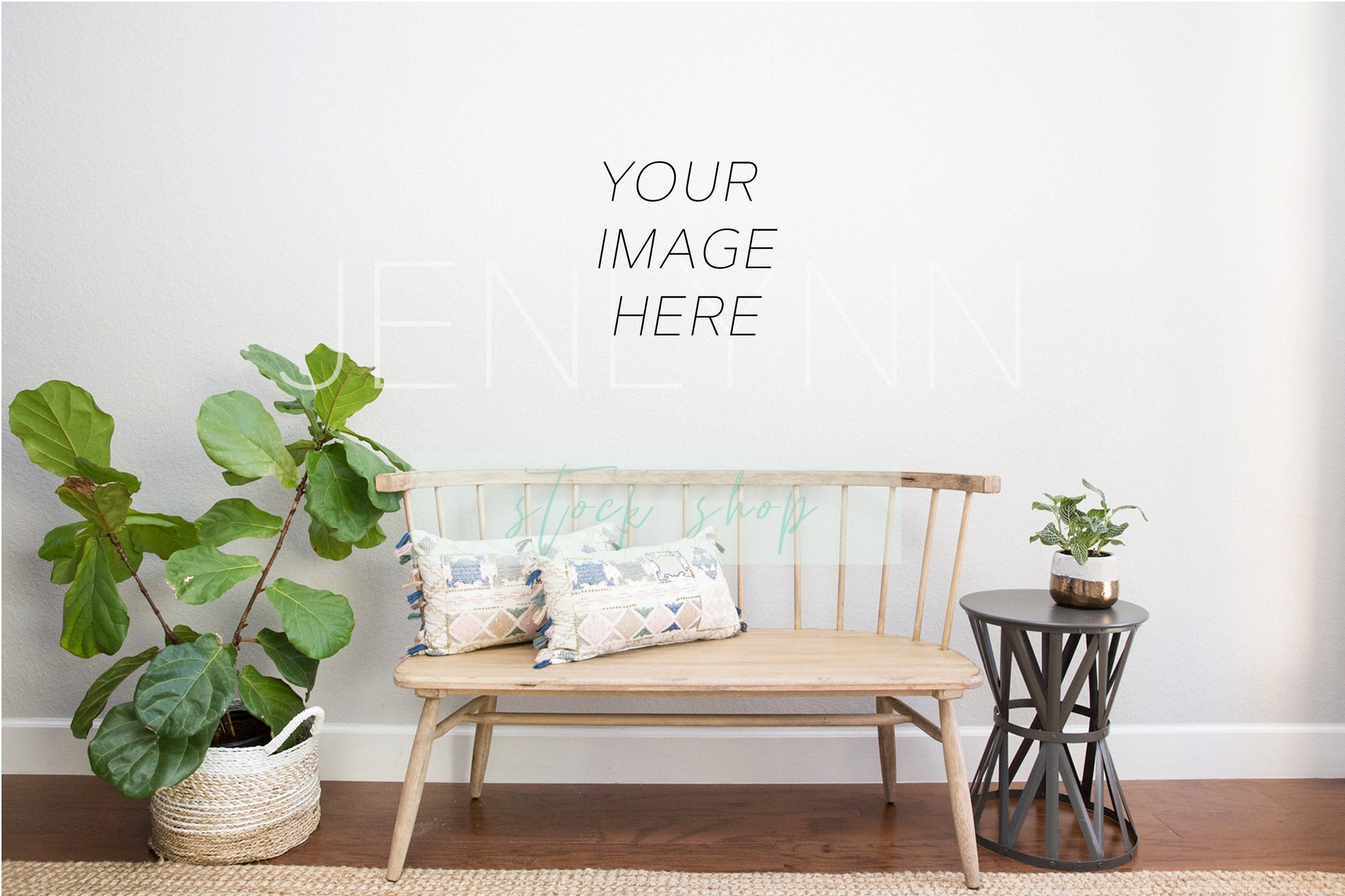 Blank Wall Mockup Bench in Foyer #23