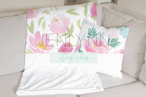 Minky Blanket and Pillow Mockup #5