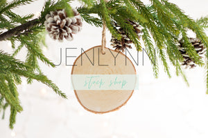 Wood Slice Ornament Mockup #6