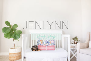 Toddler Bed Blank Wall Mockup with Puppy #7