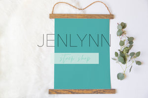 Wood Hanging Canvas Mockup Flatlay #1