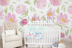 Nursery Mockup | Minky Blanket + Wallpaper Mockup #1