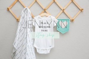 Onesie Mockup on Wooden Hanger #3 JPG