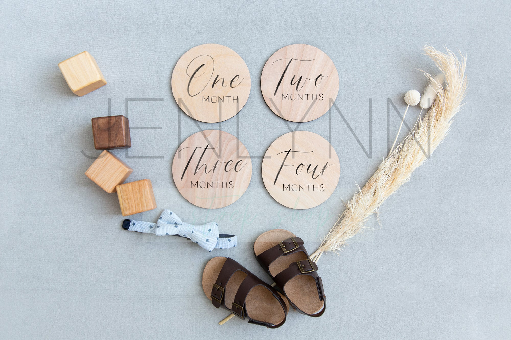 Baby Boy Round Wooden Stats sign #2 PSD