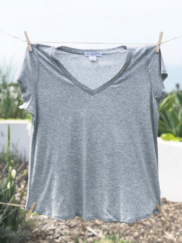 Don't say it - V Neck Tee: Gray
