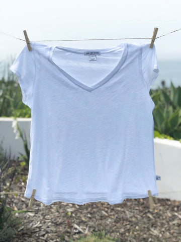 Don't say it - V Neck Tee: White