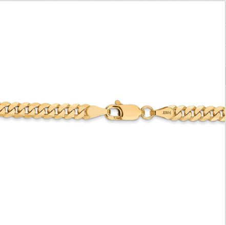 14kt Yellow Gold Cuban Link Chain 3.2 mm