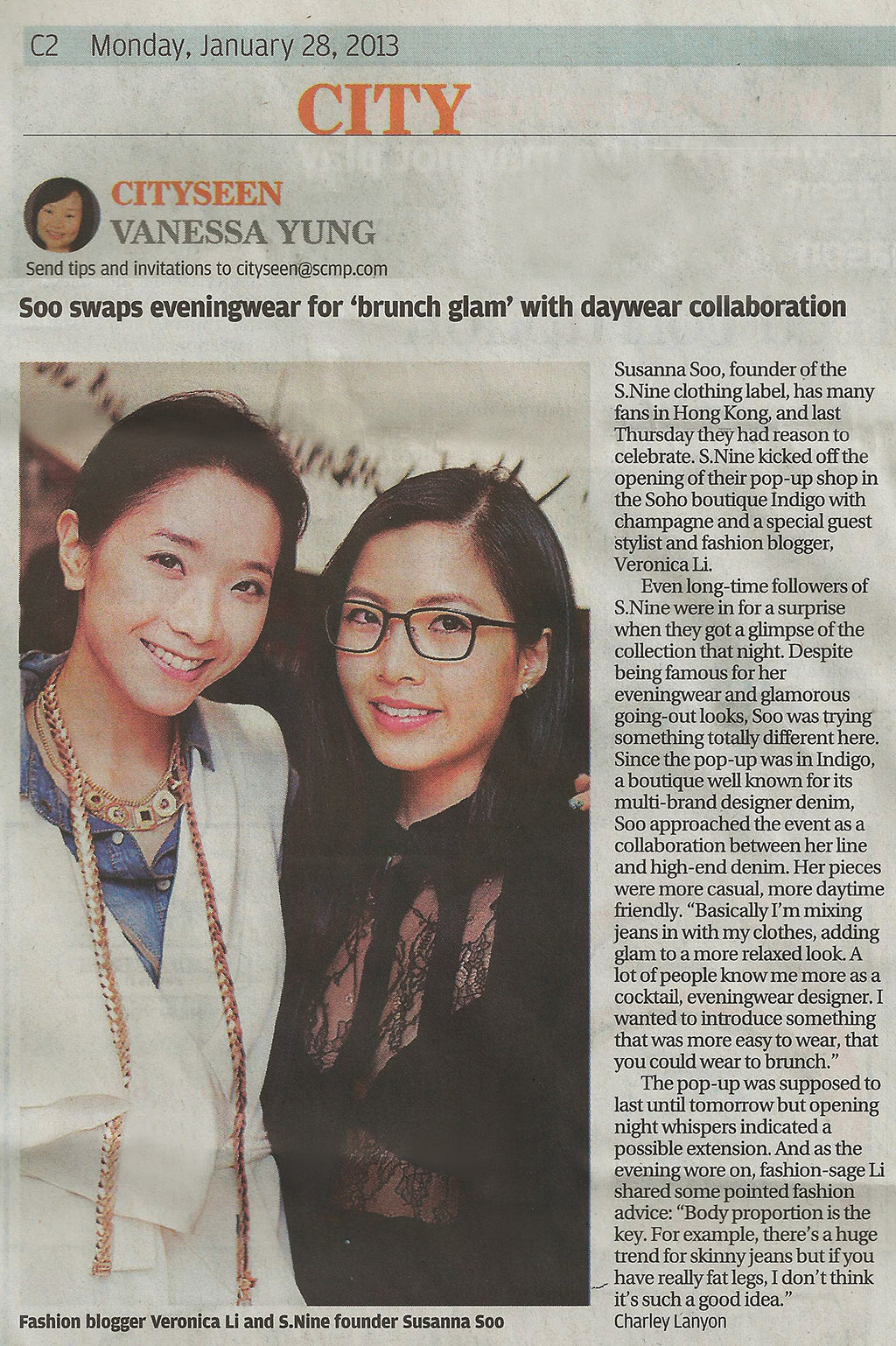 S.Nine X INDIGO Pop Up Shop featured in South China Morning Post, 28 January 2013