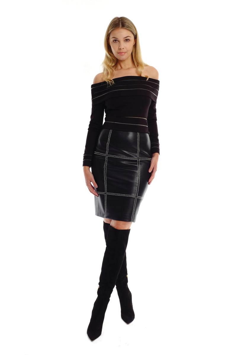 Sadie Studded Leather Skirt