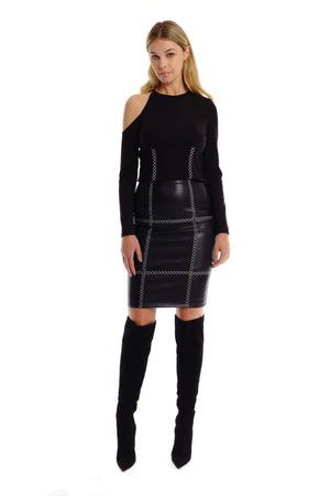 Sadie Emb. Leather Skirt