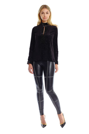 Kira Cross Studded Leather Pants