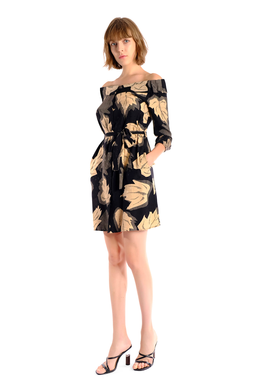 Tonia Off-Shoulder Silk Print Shirt Dress