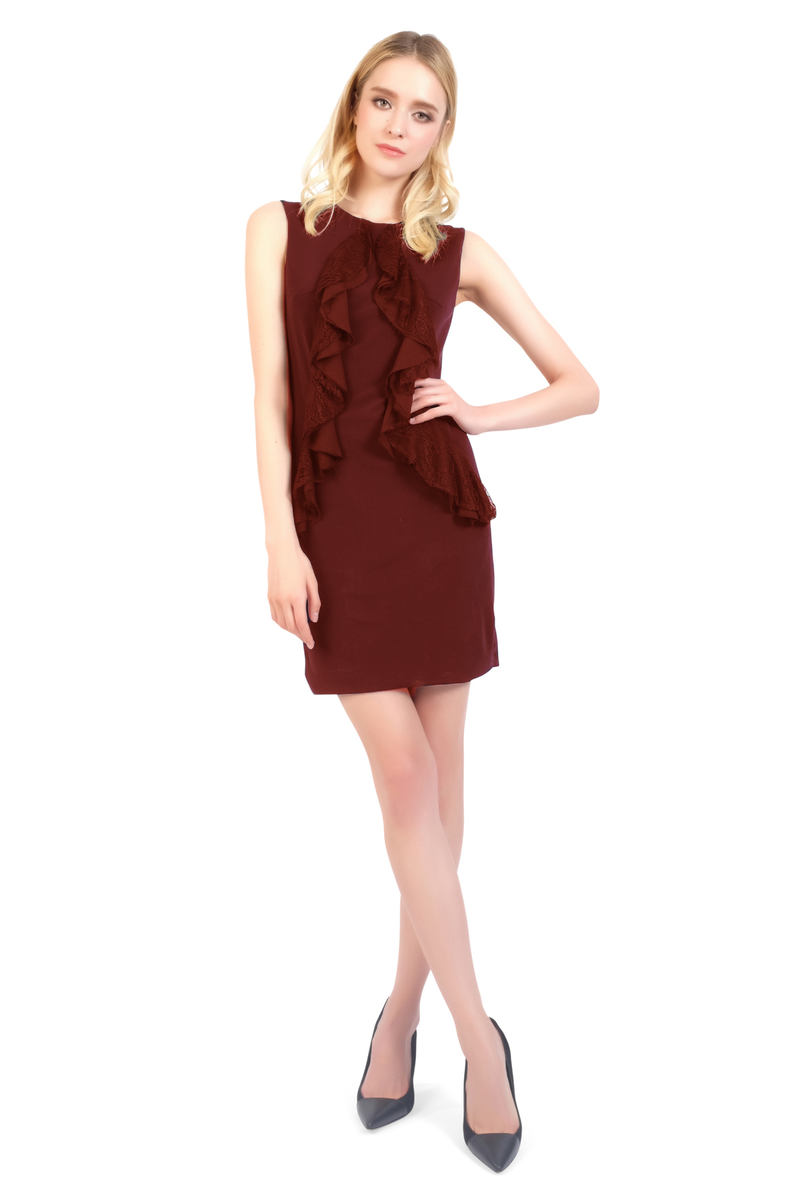 Sasha Ruffle Lace Chiffon Jersey Dress