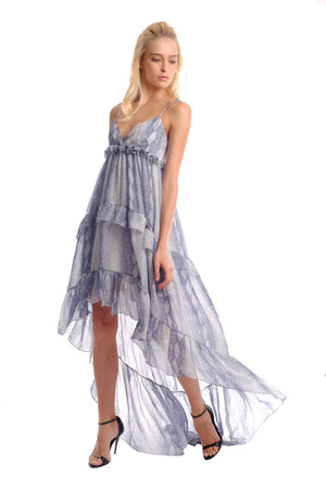 Narita Silk Chiffon Cascade Dress