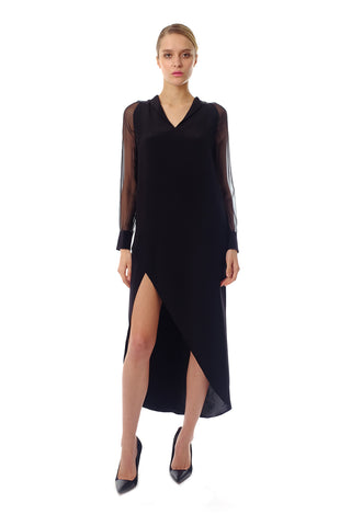 Cassandra Silk Crepe Shirt Dress
