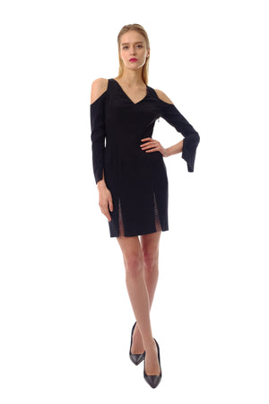 Justina Silk Crepe Emb. Dress