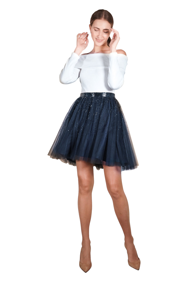 Elsa Couture Embellished Tulle Skirt