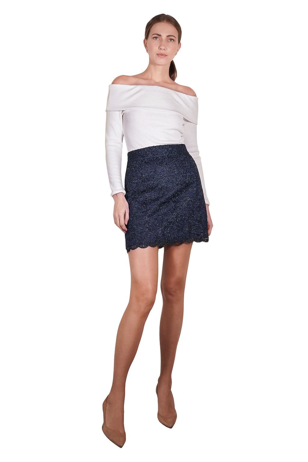 Berdal Metallic Lace Skirt