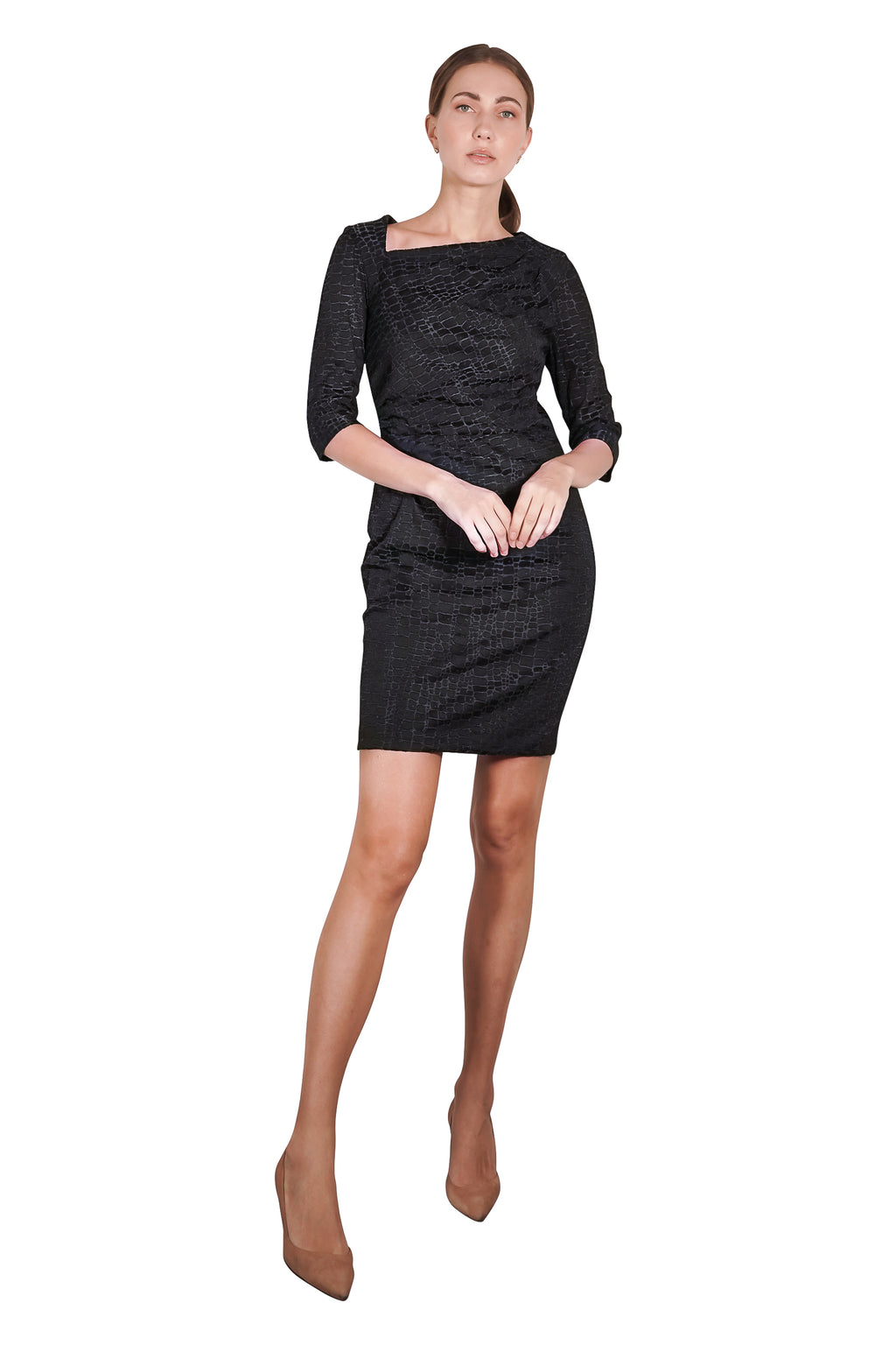 Kassandra Asymmetric Neckline Sheath Dress