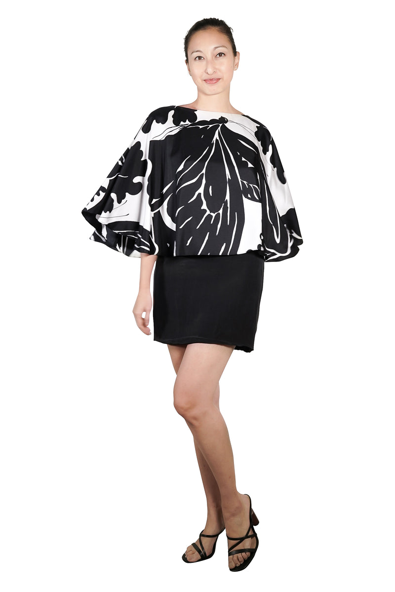 2020 Lynne Silk Print Cape Dress