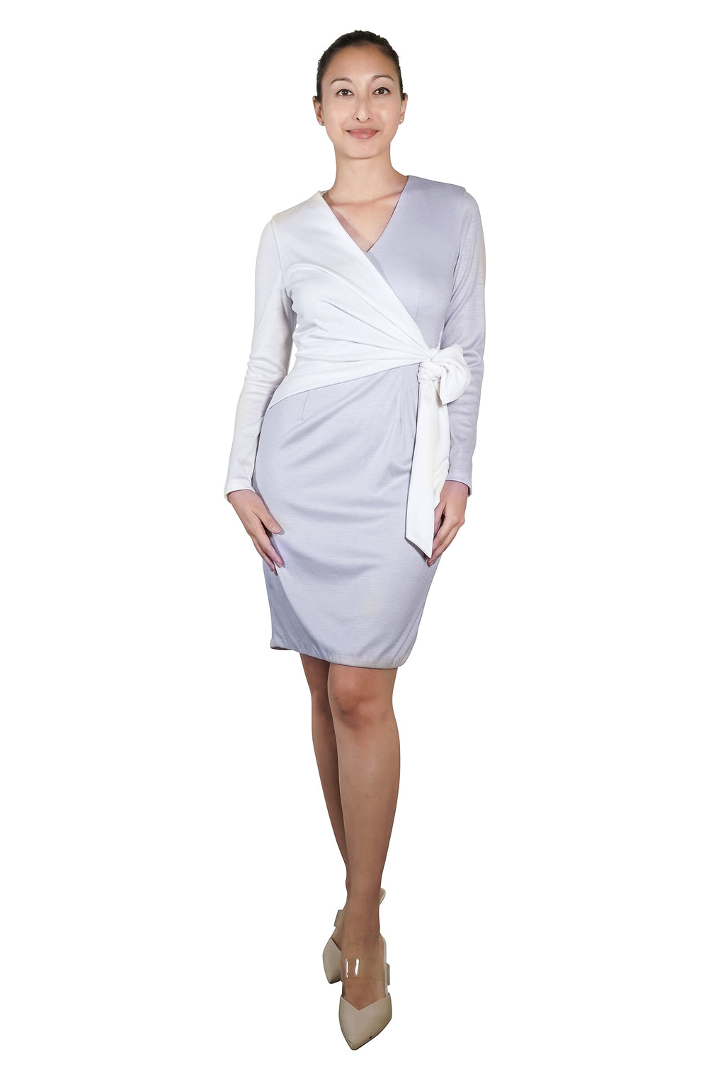 Tiva Wool Two-Toned Wrap Dress