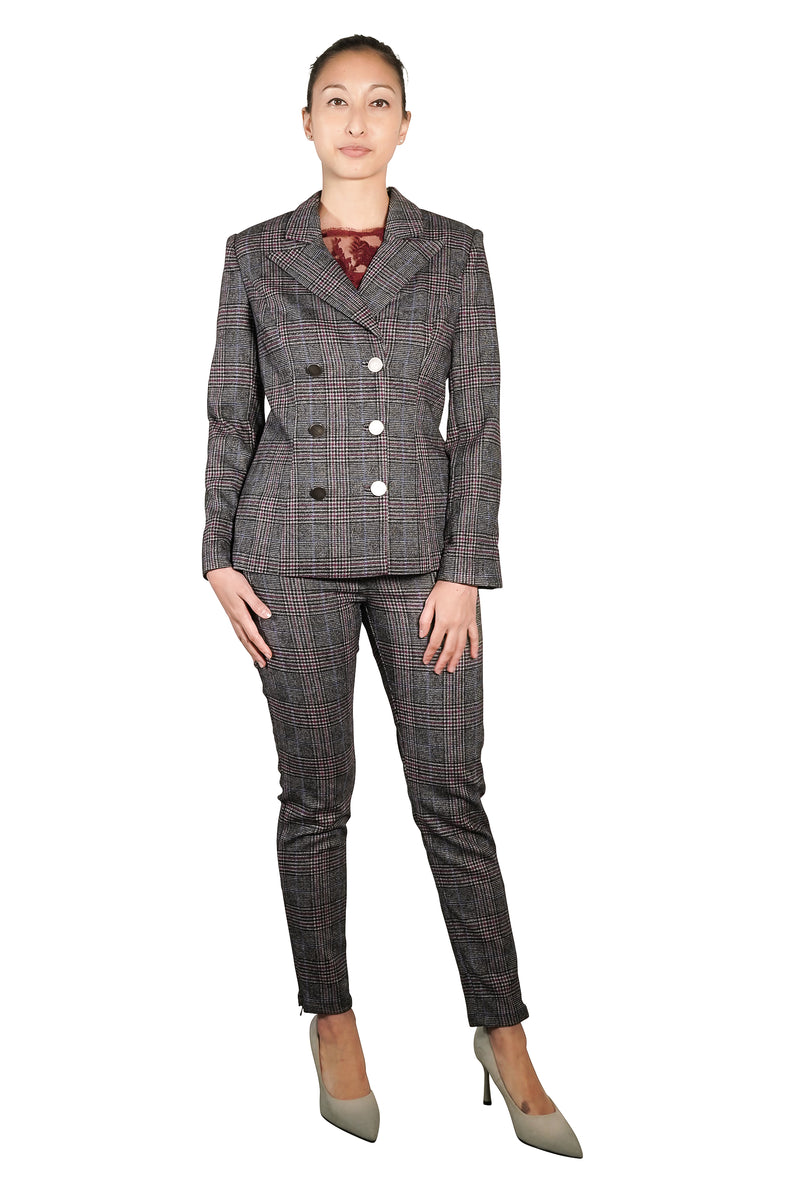 Jadina Wool Checkered Suit Jacket