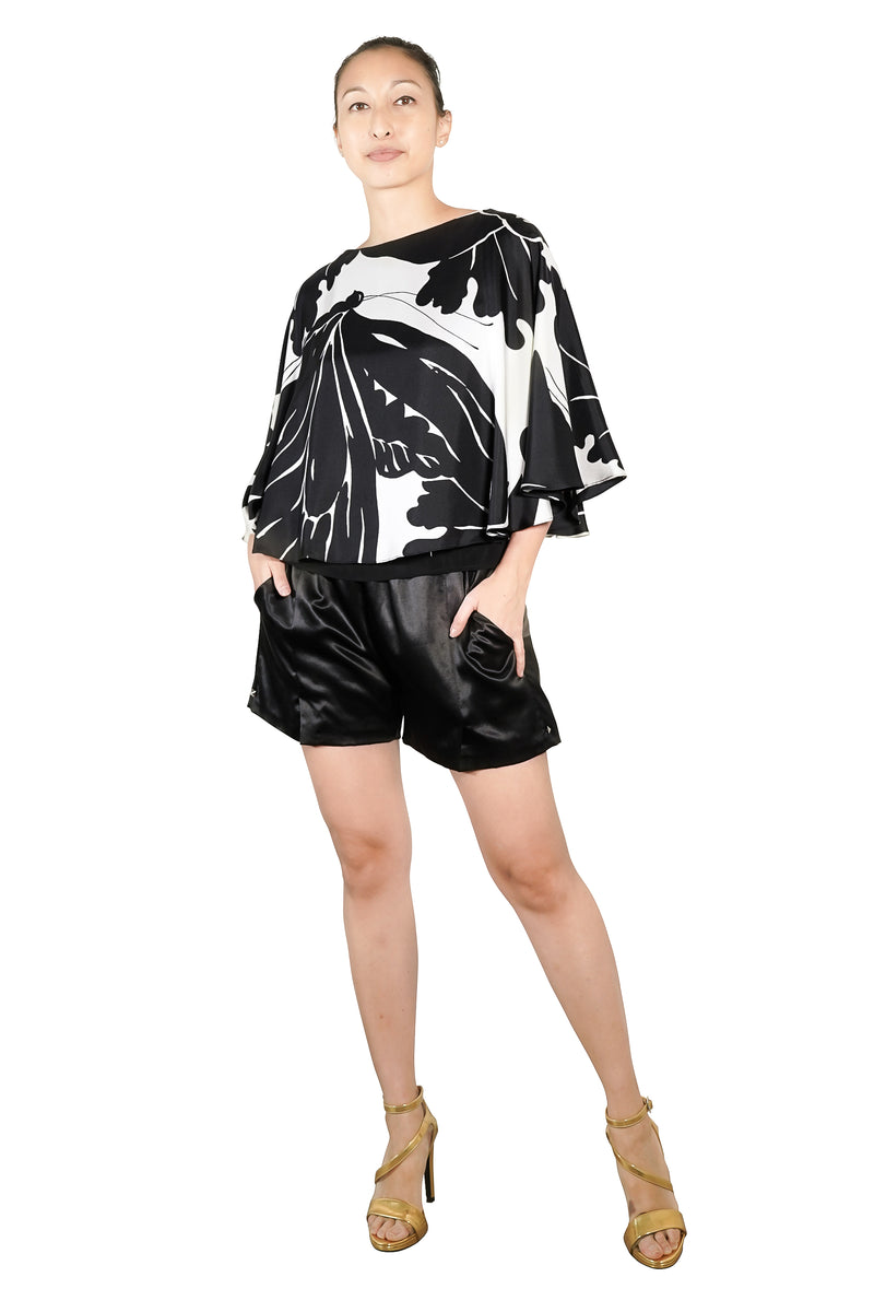 2020 Lynne Silk Print Cape Top