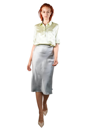 Ira Bias Cut Silk Satin Skirt