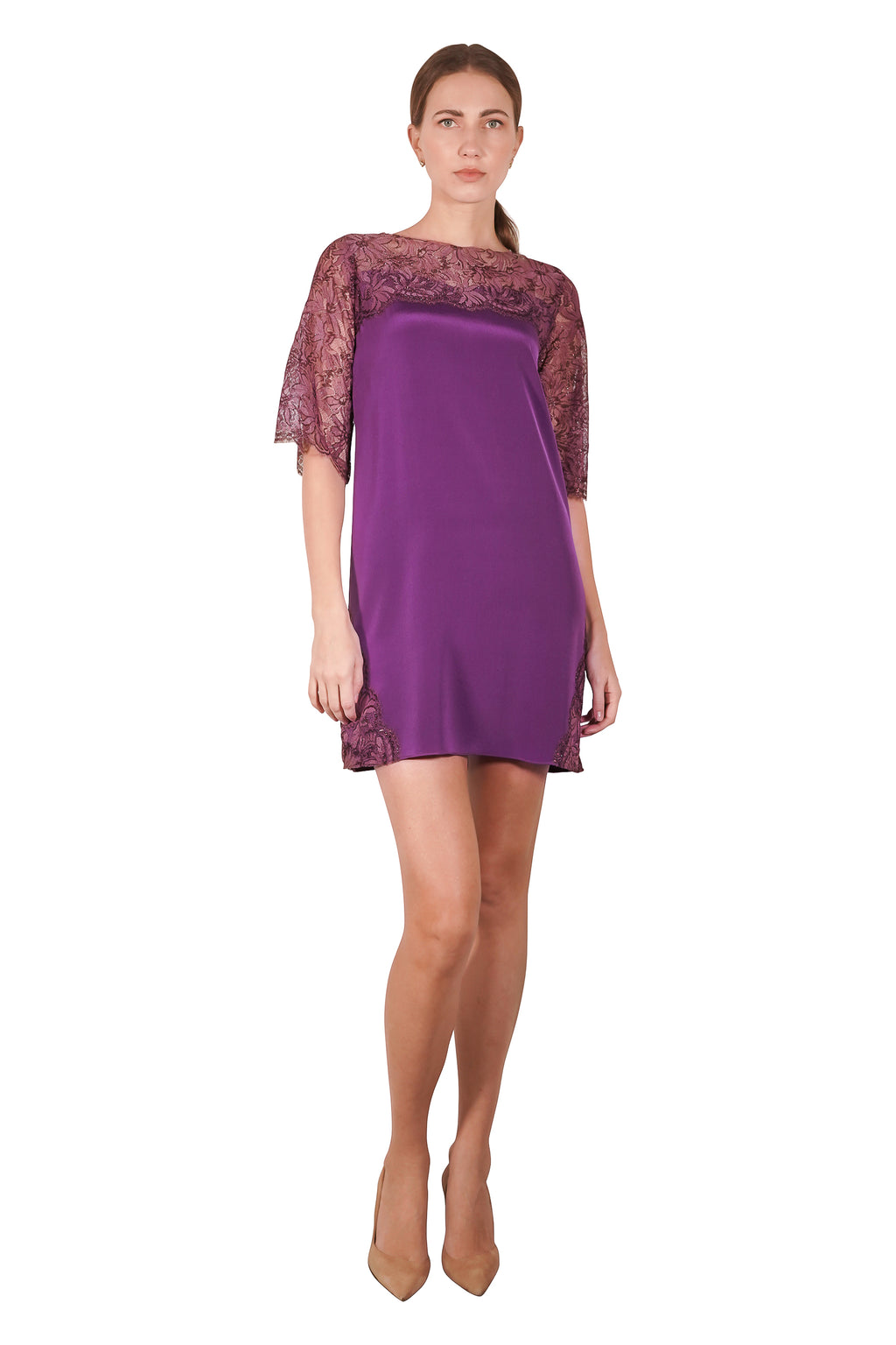 Karlie Lace Silk Crepe Dress