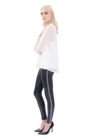 Romana Embroidered Leather Pants
