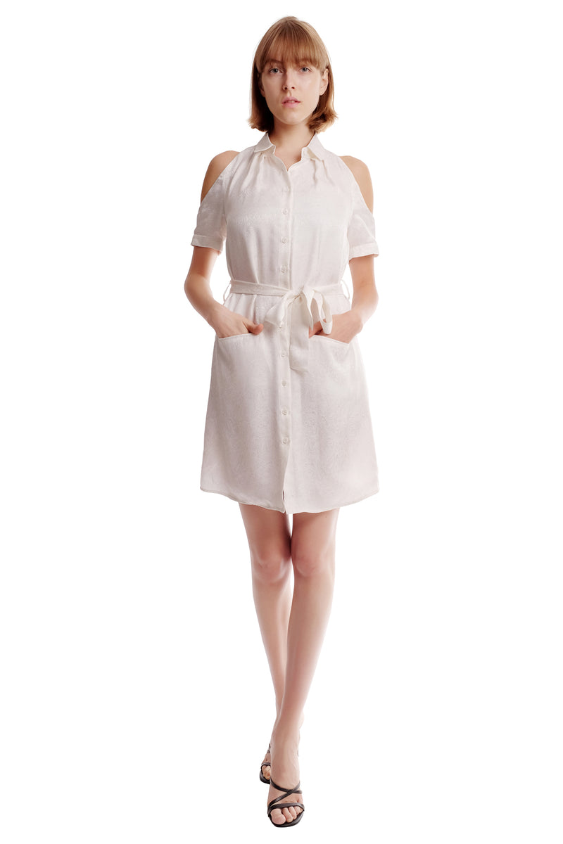 Brittany Shoulder Cutout Shirt Dress